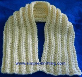 Easy Knitting Patterns - Seeded Rib Easy Scarf
