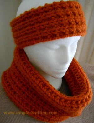 Broken Rib Stitch Cowl and Headband