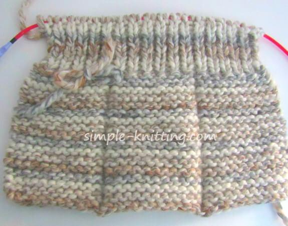knitted slipper wrong side