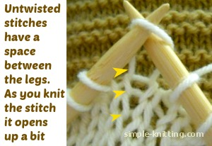An untwisted stitch as you knit it