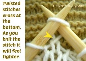 A twisted stitch as you knit it