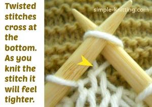 Twisted knit stitch