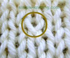 What a twisted knit stitch looks like in knitting