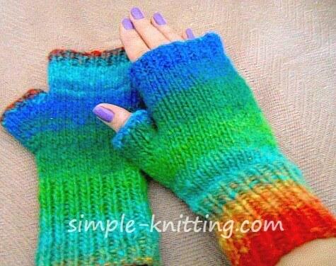 Easy fingerless mitts