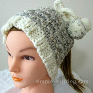 Ponytail Hat - Simple Knit Hat Pattern