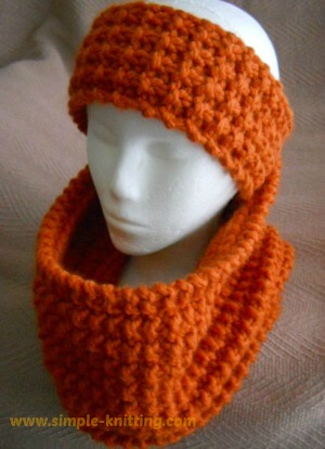 Broken rib cowl and headband knitting pattern