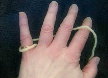 Holding yarn in left hand Continental style