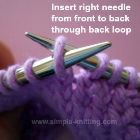 Knit through back loop quick knitting lesson for stitch pattern